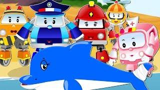 Super5 Squad Team underwater Rescue Giant Shark & Baby Shark   Car Cartoon Rhyme