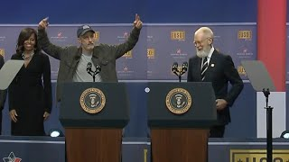 Bearded David Letterman & Jon Stewart Crack Up USO