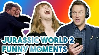 CHRIS PRATT & BRYCE DALLAS HOWARD CANT STOP LAUGHING | FUNNY MOMENTS JURASSIC WORLD 2 2018