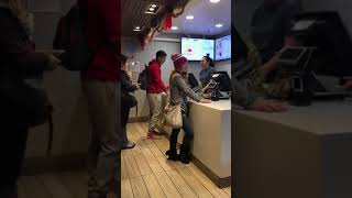 Lady goes crazy at McDonalds over a broken milkshake machine. (watch till the end)