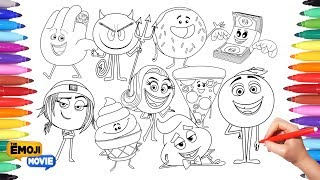 THE EMOJI MOVIE Coloring Pages for Kids | Drawing and Painting Emojis Learning Video for kids