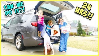 WE HAD PIZZA DELIVERED TO OUR MINI VAN!! 24 HOUR SURVIVING CHALLENGE!! / SmellyBellyTV