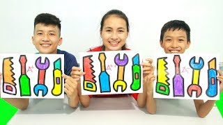 KuMin Kids Go To School Learn Coloring 4 repair tools toy at Classroom Funny