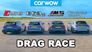 Audi RS6 v BMW M5 v AMG E63 v Porsche Panamera - DRAG RACE