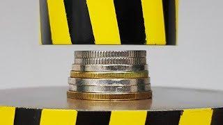 EXPERIMENT MINI HYDRAULIC PRESS 100 TON vs COINS