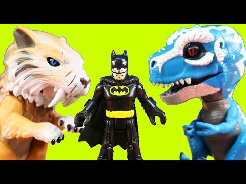 Imaginext Batman Gets Rescued By Untamed T-Rex Dinosaur Toys ! Superhero Toys