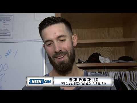 Rick Porcello Reacts After Red Sox's Win Over Rangers