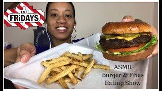 ASMR TGI Fridays Burger And Fries Eating Show