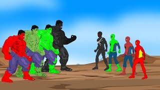Color Team Hulk vs Color Team Spider-Man [HD] | SUPER HEROES MOVIE ANIMATION