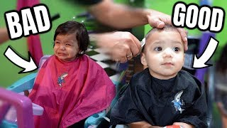 TWINS HAVE OPPOSITE REACTIONS DURING THEIR FIRST HAIRCUT...