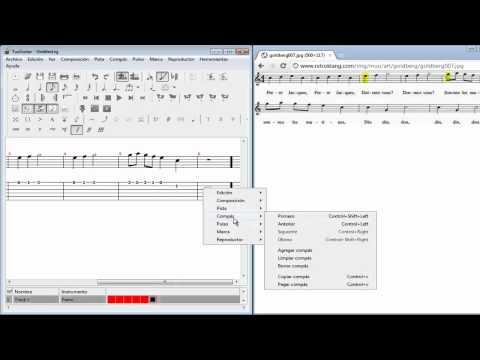 TuxGuitar Pasar partitura a tablatura (Guitarra, en español)
