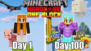 I Survived For 100 Days Of HARDCORE Minecraft In ONE BLOCK Skyblock... Here's What Happened