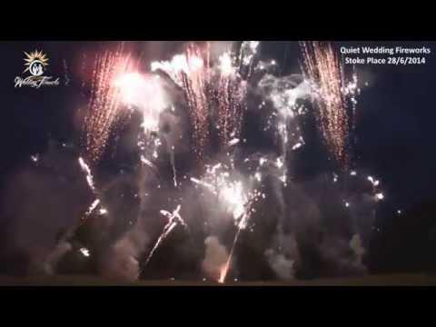 Quiet wedding fireworks display to music