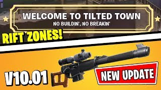 TILTED TOWN IS OUT *RIGHT NOW* & AUTOMATIC SNIPER RIFLE (FORTNITE UPDATE V10.01 PATCH NOTES)