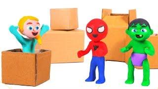 SUPERHERO BABIES BUILD A TOY CAR  ❤ Superhero Babies Play Doh Cartoons For Kids