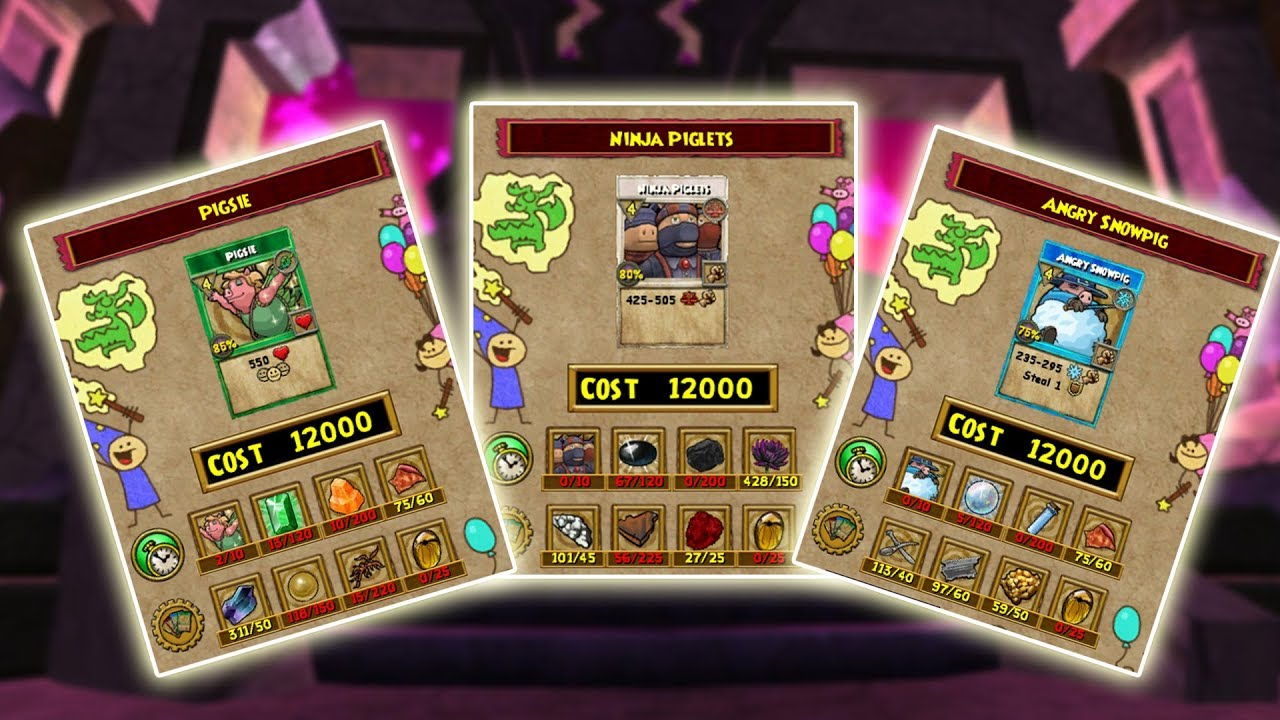 Wizard101: PIGSIE NOW CRAFTABLE! - All Wysteria Lore Recipes
