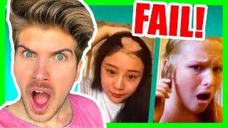 REACTING TO HAIR FAIL VIDEOS! (TRY NOT TO LAUGH)