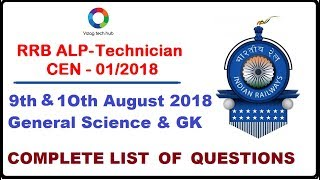 RRB ALP/TECH 9th&10th august 2018 Total Questions list (GS,GACF)