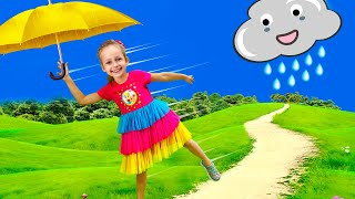 Rain Rain Go Away Song with Maya and Little Baby Doll   Nursery Rhymes