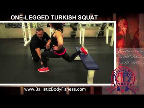 One Legged Turkish Squat for legs - BBF 90 Day Fitness Challenge Instruction Video #42