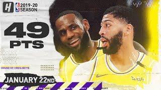LeBron James & Anthony Davis 49 Points Combined Highlights vs Knicks   January 22, 2020