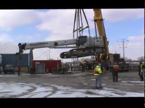 Grove GMK7550 Loading Link Belt 750 on Barge
