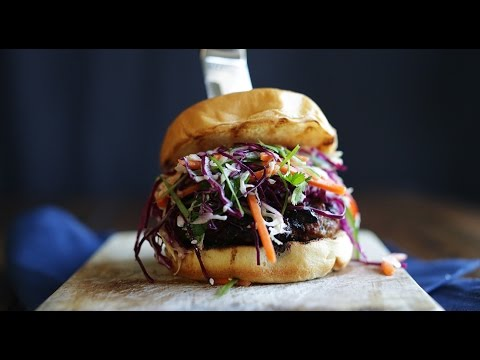 Shiitake Pork Burger with Banh Mi Coleslaw