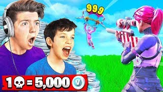 FORTNITE WORLD'S *BEST* 13 YEAR OLD! 1 KILL = 5,000 *FREE* VBUCKS CHALLENGE!