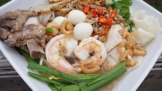 Vietnamese Clear Noodle Soup with Pork and Seafood - Hủ Tiếu Dai