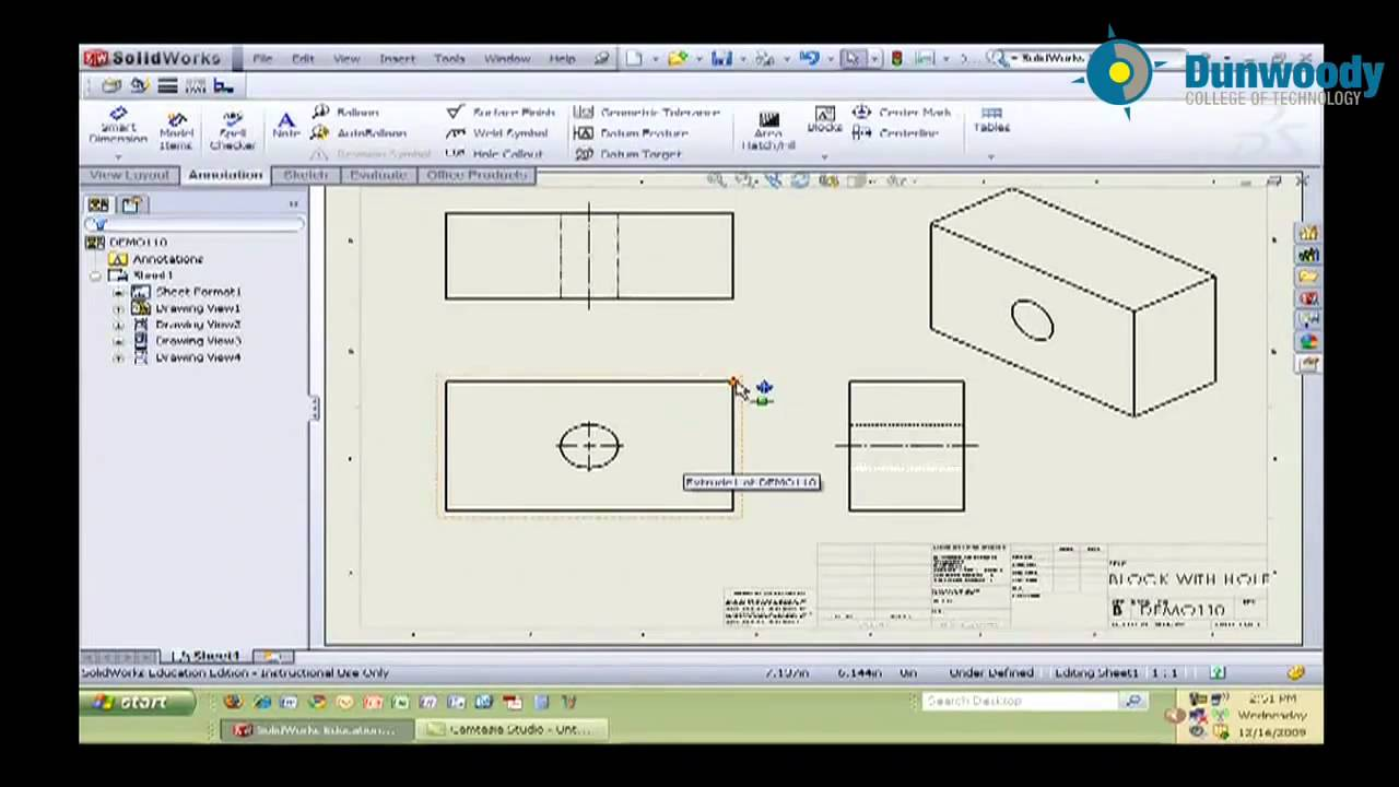 Engineering - Creating a Simple Drawing in Solidworks (Andrew Leroy)