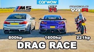 BMW M5 v Nissan GT-R v Ducati V4R - DRAG RACE *tuned cars vs stock bike*