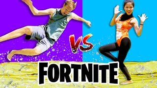 WATER SLIDE FORTNITE DANCE YOGA CHALLENGE IN REAL LIFE (All New Dances) vs Chad Wild Clay