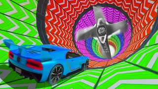 SURVIVE The RAINBOW OBSTACLE Tunnel At 450MPH! (GTA 5 Funny Moments)