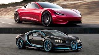 2020 Tesla Roadster Vs 2018 Bugatti Chiron - Top Speed!!