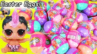 Lil Punk Girl Custom vs Punk Boi Sister Open Shopkins Easter Eggs + Unicorn LOL Surprise Dolls