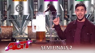 Dom Chambers: Australian Magician Gulps GIANT BEER and WOWS The Judges!   America's Got Talent 2019