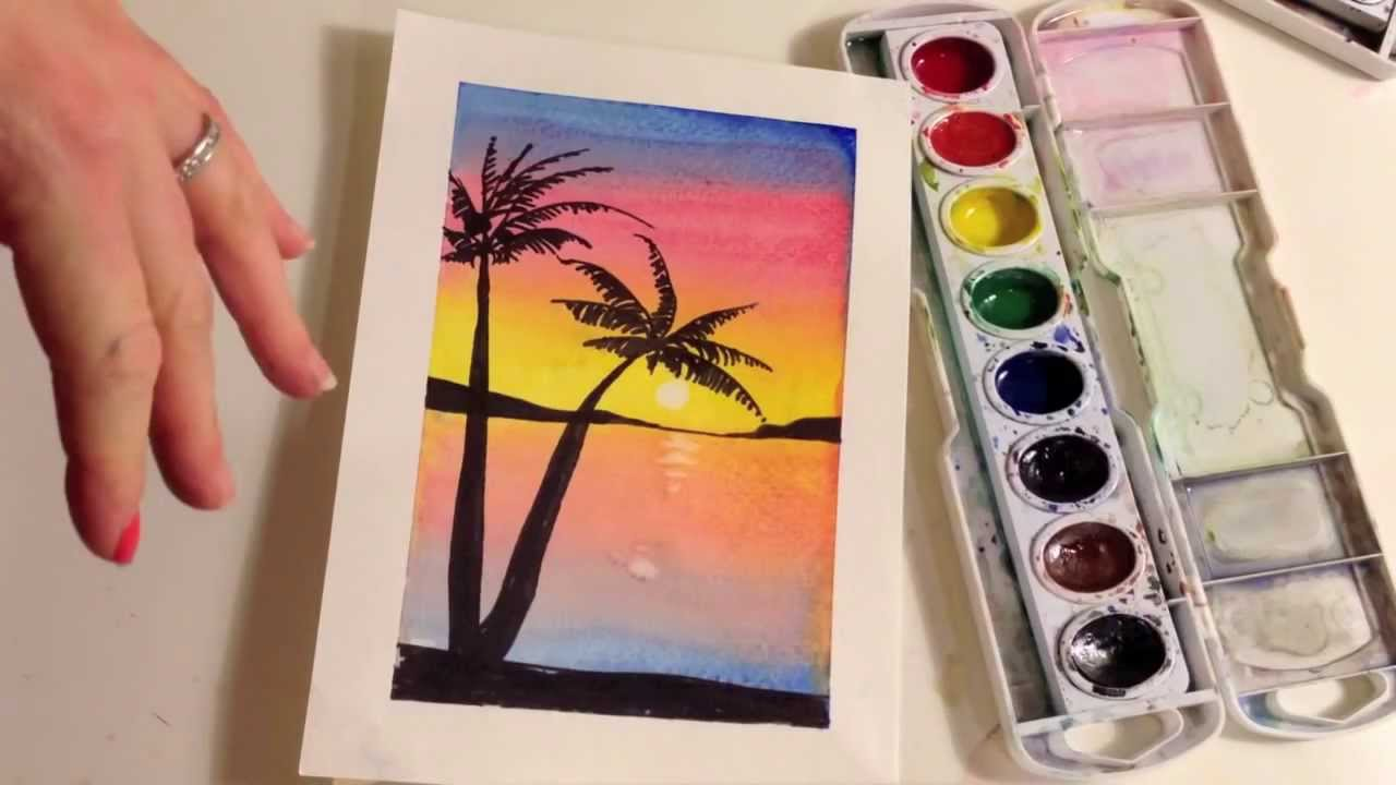 How To Paint A Sunset With Palm Trees In Watercolor Youtube