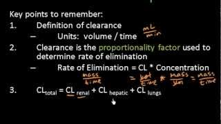 Clearance and Rate of Elimination - Pharmacokinetics - Pharmacology Lect 12