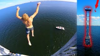 SHARK TOWER CLIFF JUMPING!! 90+FT (Try This JAKE PAUL!!)   JOOGSQUAD PPJT