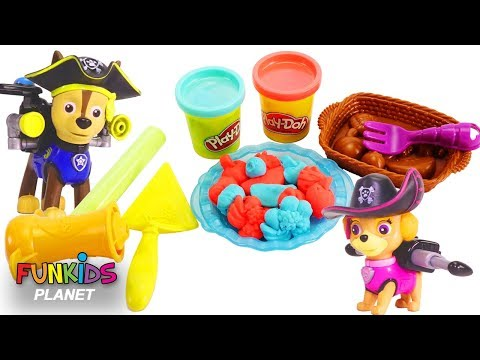PAW PATROL Pups Feeding Baby Marshall Play Doh Pie and Ice Cream | Fun Kids Toys