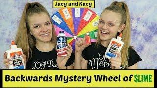 Backwards Mystery Wheel of Slime Challenge ~ Jacy and Kacy