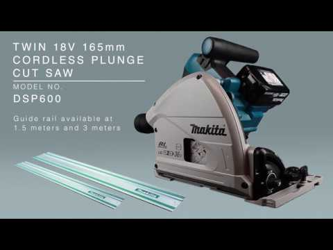 Makita DSP600ZJ Twin 18v Cordless Plunge Saw Body Only With 2 X1.5Mtr Rails + Connectors