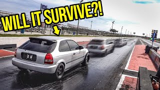 Racing My Cheap Ebay Honda Civic In The 1/4 Mile Was The Scariest Thing Ever (DISASTER)