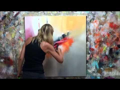 Démonstration de peinture abstraite (7) Elisabeth - Toile