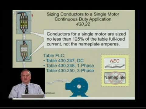 Nec 2011 Single Motor Conductor Size 430 22 4min 05sec