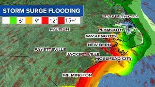Hurricane Florence's severe storm surge to innundate coast