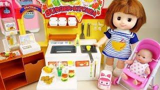 Baby doll burger shop kitchen toys with Poli Pororo play