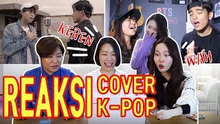REAKSI CEWEK KOREA COVER LAGU KPOP/BTS BLACKPINK COVER REACTION/케이팝 커버송 인도네시아