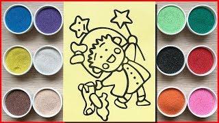 Chị Chim Xinh tô màu tranh cát nhóc Marưko - Colors sand painting Maruko toys kids (Chim Xinh)