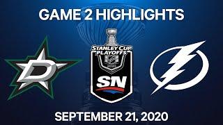NHL Highlights | 4th Round, Game 2: Stars vs. Lightning - Sep 21, 2020